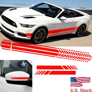Red Sport Racing Stripe Graphic Stickers Car Body Side Door Rear View Mirror