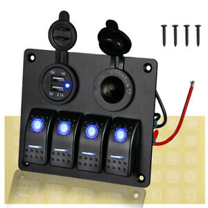4 Gang Blue Led Waterproof Rocker Switch Panel Breakers Car Marine Boat Rv 12v