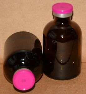 Usp 50 Ml Amber Sterile Vial With Fuchsia Pink Plain Flip Top Seal Any Qty