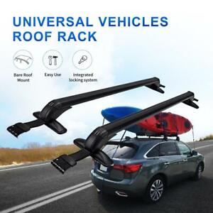 Universal Car Top Roof Rack Cross Bars Cargo Bike Luggage Carrier Rail Clamps Us