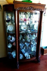 Beautiful Solid Oak Curved Glass Antique China Cabinet With Mirrored Back