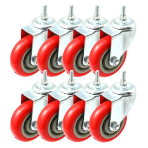 Pack Of 10 Caster Wheels Swivel Plate On Red Polyurethane Wheels 4 With Stem
