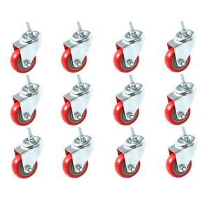 Pack Of 12 Caster Wheels Swivel Plate On Red Polyurethane Wheels 4 With Stem