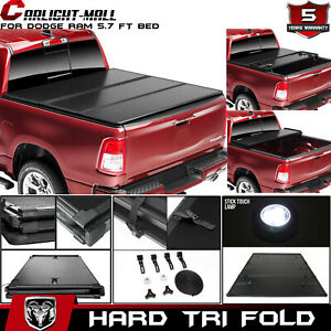For 2019 Dodge Ram 1500 5 7ft Bed Cover Hard Trifold Solid Fold Tonneau Cover