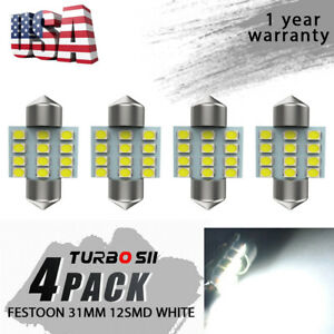 4x White Festoon 31mm 12smd Chips Led Corner Light Bulbs 3022 For Cadillac Cts