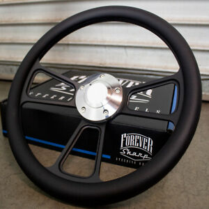 14 Black Half Wrap Steering Wheel With Black Wrap For Chevy Muscle C10 Ford