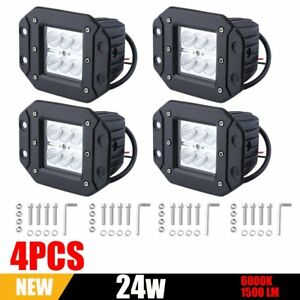 4x 24w Cree Flood Led Cube Pods Work Light Flush Mount Offroad Truck For Suv