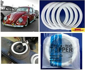Fit For 205 75 R15 Tire Most All 1958 1967 Vw Beetle Tire Trim White Walls 4pcs