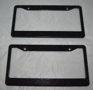 2 Black Bling Glitter Crystal Rhinestone Metal License Plate Frame Car Auto