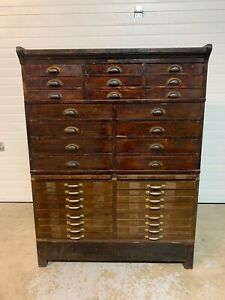Rare Circa 1900 Antique Watchmakers Jewelers Dental Cabinet Buy It Now