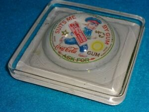 old Wolf & Company Coca Cola chewing gum antique advertising glass paperweight