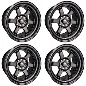 4 new 16 Mst Time Attack Wheels 16x8 4x100 20 Matte Black Rims