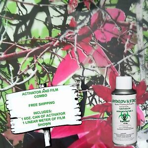 Hydrographic Film Water Transfer Hydro Dip 6oz Activator Pink Leaf Camo Dip Kit
