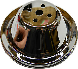 Chrome Single Groove Upper Pulley For Sbc Swp Pump Short Small Block Chevy