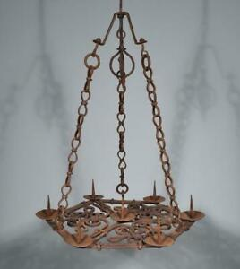 Antique French Wrought Iron Gothic Chandelier Hanging Lamp