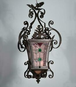 French Antique Iron And Stained Glass Hanging Chandelier Lamp