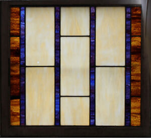 Large Antique Stained Glass Window 31 25 X 34 3 Circa 1910 1 Of 2