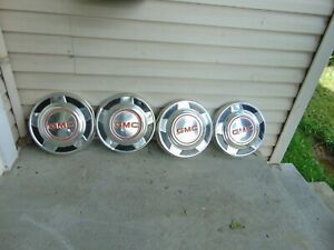 Vintage Set Of 4 Gmc Pickup Hubcaps Nice 73278