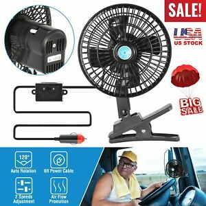 12v Portable Vehicle Auto Dash Oscillating Fan Clip On Car Truck Cooling 7 Inch