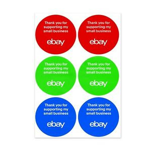 3 color Round Ebay branded Small Business Sticker Multi pack 3 X 3