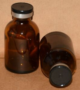 Usp 30 Ml Amber Sterile Vial With Black Plain Flip Off Seal Any Qty