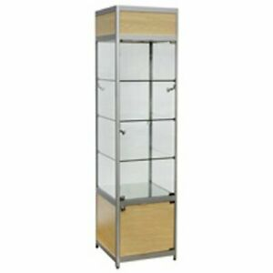 Lighted Maple Tower Display Case 20 W X 20 D X 78 H Inches