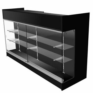 Black Ledgetop Counter With Showcase 72 W X 22 D X 42 H Inch