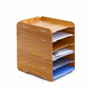 Wooden File Rack Holder Multi Layer Storage Frame Magazine A4 File Organizer Box