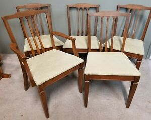 Set Of 5 Vintage Mid Century Modern Solid Wood Windsor Back Dining Chairs