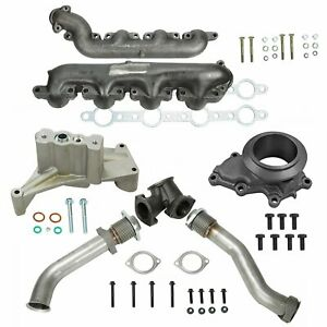 Turbo Bellowed Up Pipe Housing Pedestal Exhaust Manifold For 99 5 03 Ford 7 3l