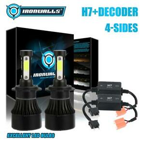 4 sided H7 2400w 360000lm Led Headlight Bulbs Kit Canbus Decoders Error Free