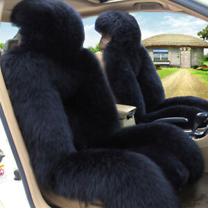 Pair Of Car Front Seat Covers Universal Australian Sheepskin Fur Long Wool Black