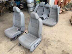 Oem Mk5 Vw Jetta Gray Leather Seats W Bolsters Key Front Back Complete Set