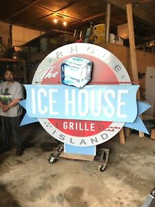 Vintage Looking Custom Large Neon Commercial Restaurant Business Sign Ice House
