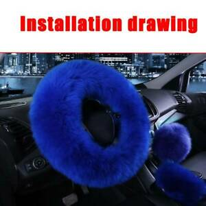 Super Soft Warm Gem Blue Natural Fur Long Wool Fuzzy Steering Wheel Cover 1 Set