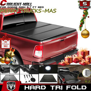 Hard Tri fold Tonneau Cover For 09 2018 Dodge Ram 1500 Big Horn 5 7ft Short Bed