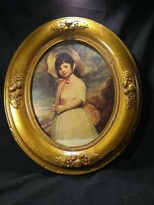 Antique Refinished Gold Oval Picture Frame For 8 10 Inch Art W Good Class