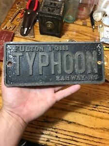 Typhoon Car Club Plaque Rare Plate Rat Rod Topper Rahway New Jersey