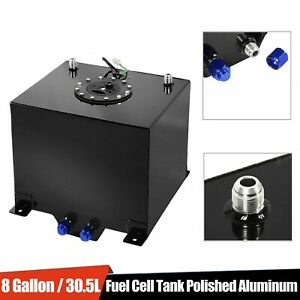 8 Gallon Drifting Fuel Cell Gas Tank Level Sender Black Coated Aluminum Racing