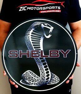 Shelby Cobra Snake Black Round Garage Art Metal Sign 19