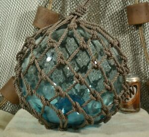 Vintage Glass Fishing Float In A Light Aqua With A Blue Tint