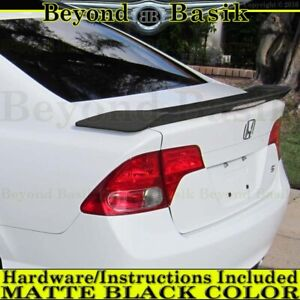 2006 2011 Honda Civic Si 4 Dr Factory Style Spoiler Wing Matte Black W clear Led