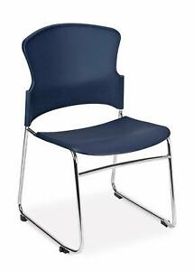 Multi use Navy Plastic Stackable Office Guest Side Chair W Sled Metal Base