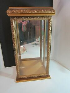 Gold Wood Glass And Mirror Display Case 21 1 2 Tall