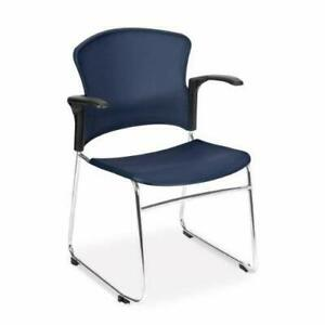 Multi use Navy Plastic Stack Office Guest Chair With Arms Sled Metal Base