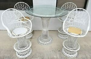 5 Pc Vtg Mcm Russell Woodard Spun Fiberglass Table Glass Dining Set Bar Stools