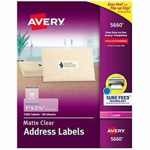 Avery Matte Frosted Clear Address Labels For Laser Printers 1 X 2 5 8 1 500