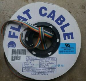 100ft Stranded Rainbow Flat Ribbon Cable 10 Pin 28awg