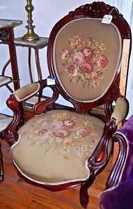 Antique Parlor Chair 1800 S Victorian Needlepoint Green With Roses Cat 72