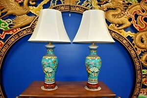 39 Ex Tall Pair Of Chinese Porcelain Vase Lamps Asian Oriental Cloisonne Japan